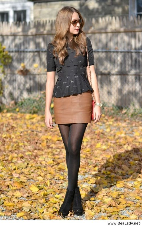 Peplum top....cute outfit | Peplum top outfits, Brown leather .