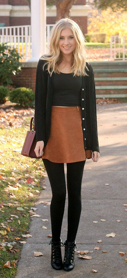 fall #outfits women's white crop top, brown mini skirt black .