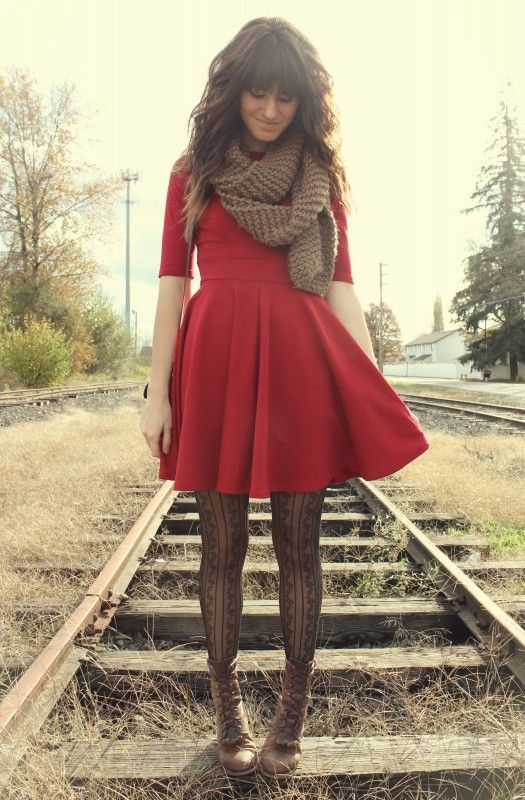 Fall Outfit: red flare / skater dress, brown chunky knit scarf .