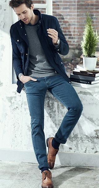 Fall business casual outfit idea with a navy zip up jacket gray .