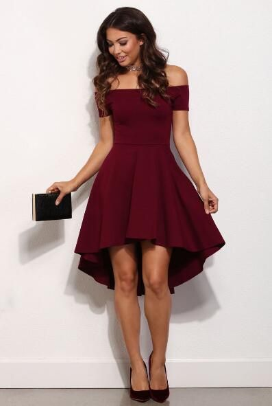 Off The Shoulder Prom Dress,Burgundy Party Dresses,High Low Party .