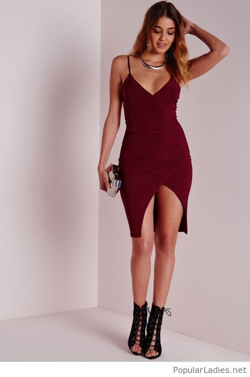 Short burgundy dress with silver accessories | Asymmetric bodycon .