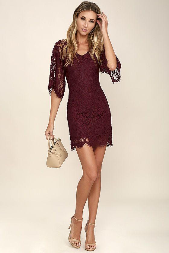 Lovely Burgundy Dress - Lace Dress - Three-Quarter Sleeve Dress .