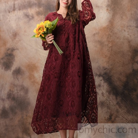 Organic burgundy lace Tunic Drops Design Fashion Ideas v neck .