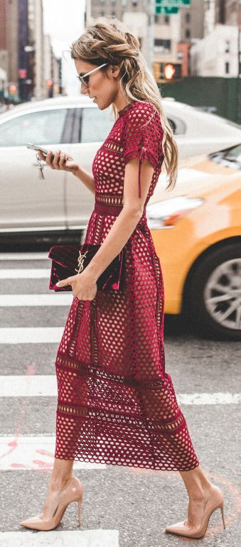 Burgundy lace midi dress | Fashion, Trendy dresses, Pretty dress