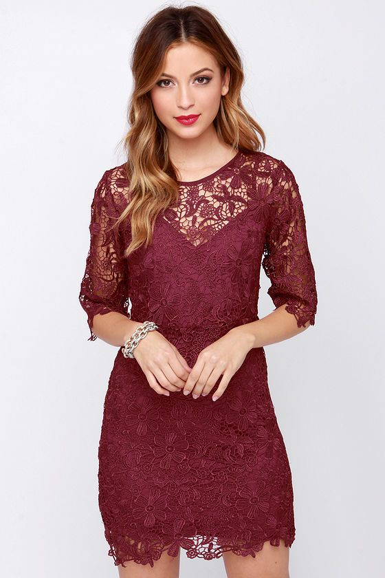Department of Floristry Burgundy Floral Lace Dress- I love the .