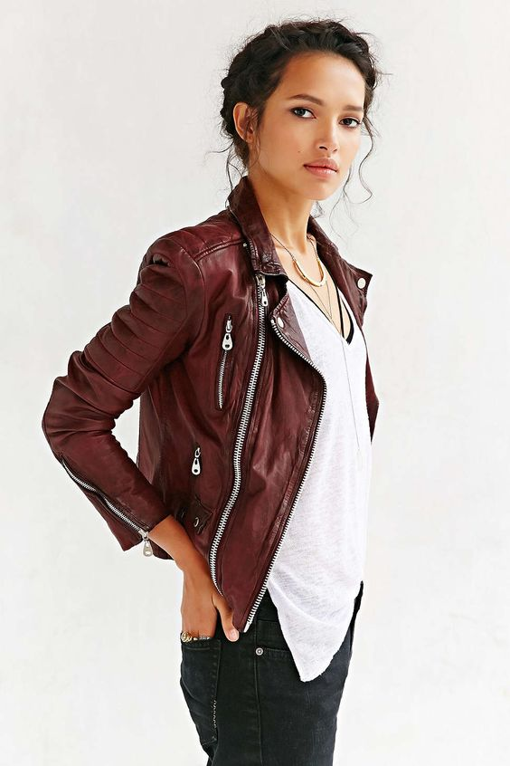 Doma Oxblood Quilted burgundy Leather Jacket. Fall street women .