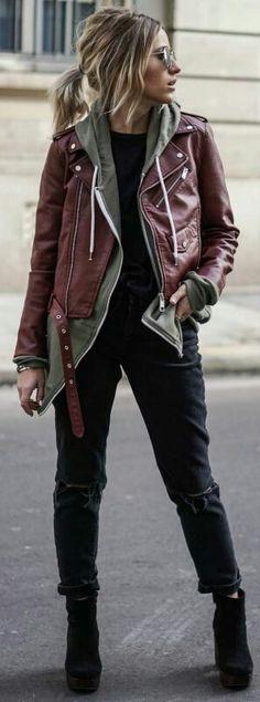 102 Best Burgundy leather jacket images | Burgundy leather jacket .