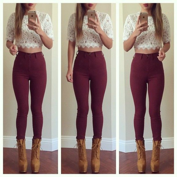 burgundy leggings outfit - Google Search | Cute outfits with jeans .
