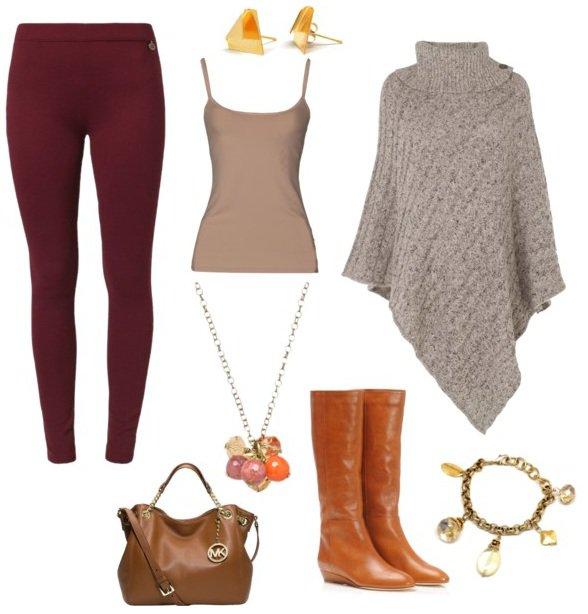 Burgundy leggings | HOWTOWEAR Fashi