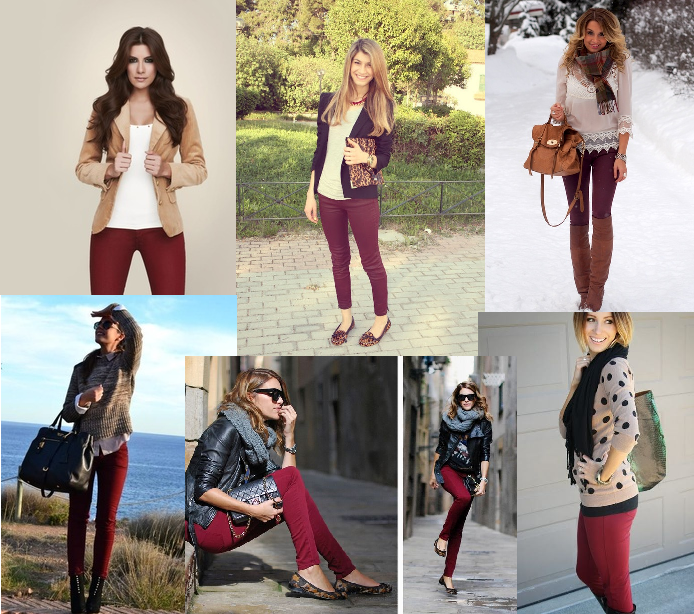 Burgundy or red pants fall outfit ideas | Burgundy leggings outfit .