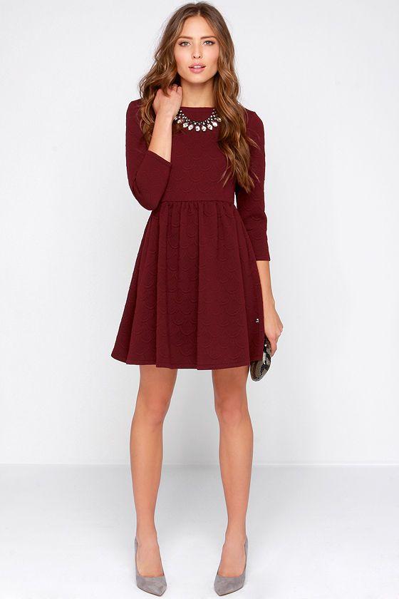 Diller Burgundy Long Sleeve Dress | Burgundy dress, Burgundy dress .