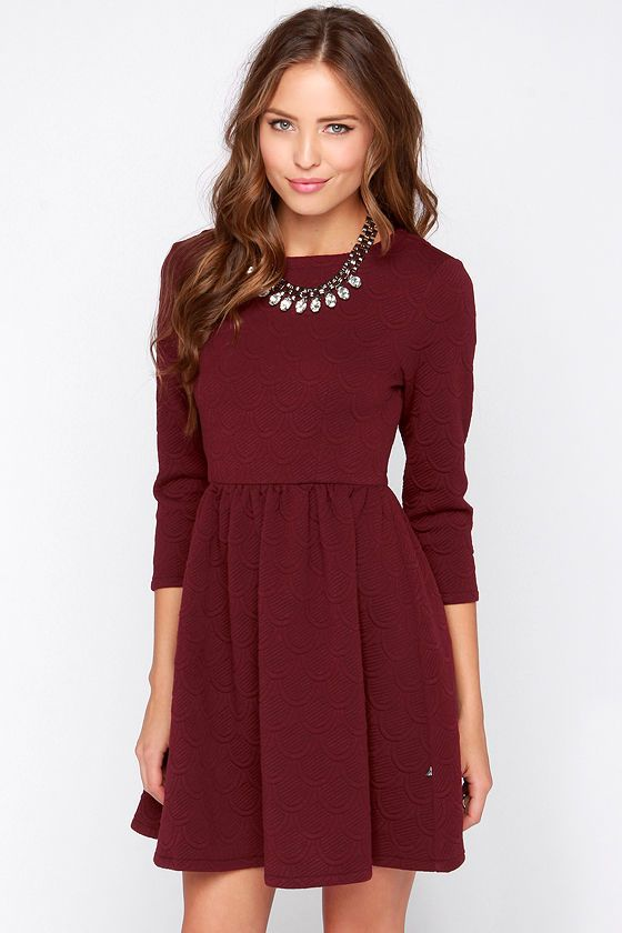 Diller Burgundy Long Sleeve Dress | Burgundy dress, Fashion .