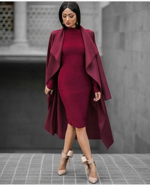 Burgundy Dress Outfit – Fashion dress