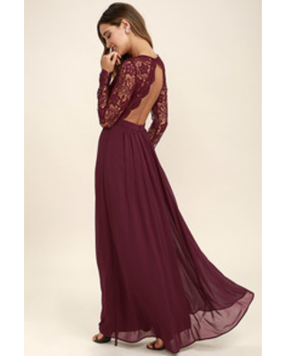 New Savings on Awaken My Love Burgundy Long Sleeve Lace Maxi Dre