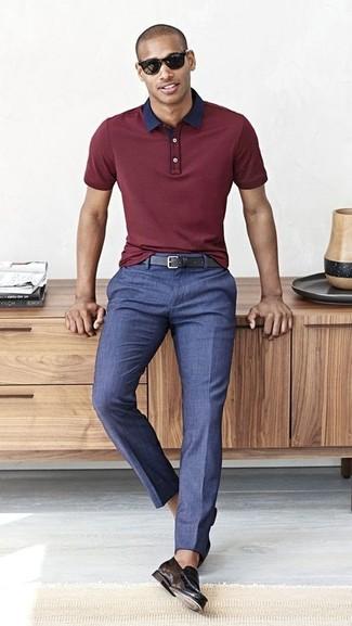 Topman Burgundy Short Sleeve Knitted Polo Shirt, $50 | Topman .