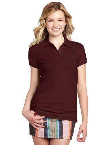 Dickies Girl Juniors' Short Sleeve Pique Polo Shirt,Burgundy .