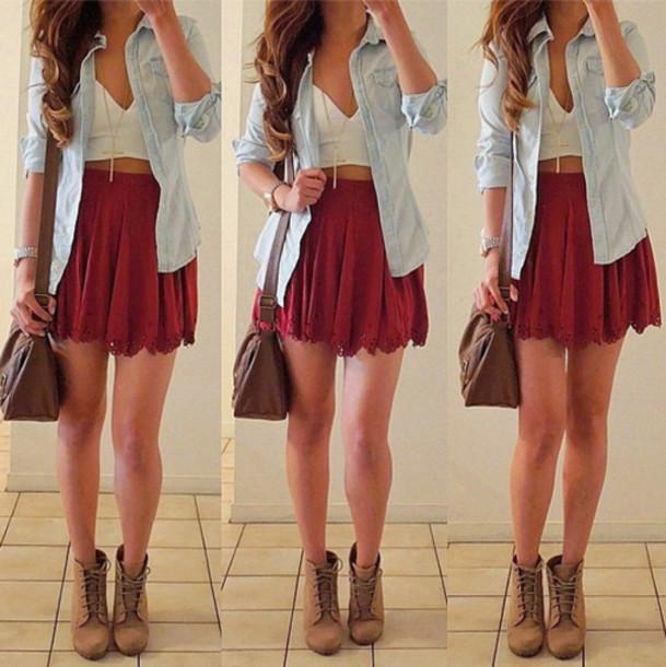 skirt, burgundy, red, red skirt, scalloped, scallop skirt, high .