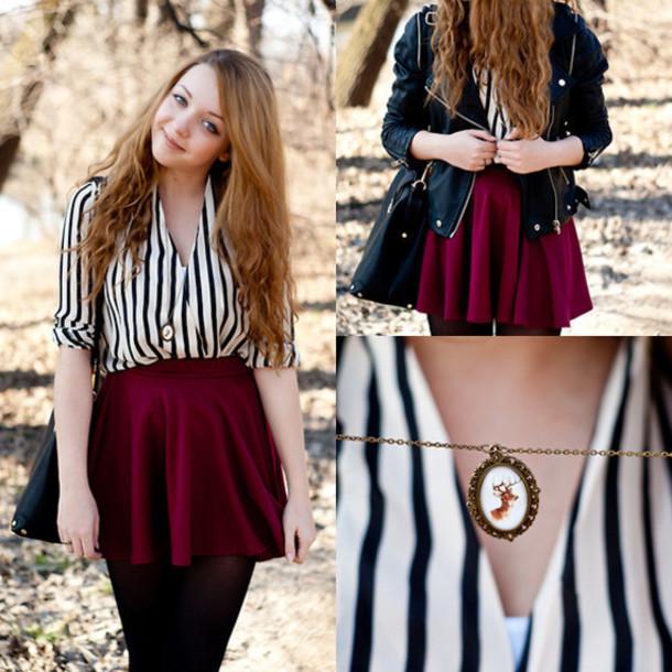 blouse, zaful, fall outfits, skater skirt, burgundy, black .