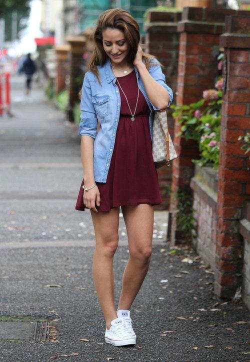 15 Amazing Burgundy Skater Dress Outfit Ideas - FMag.c