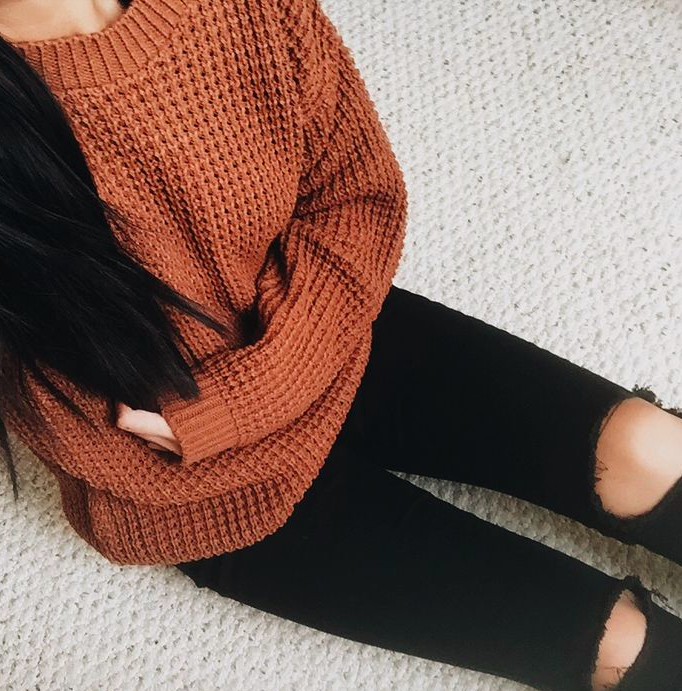 Burnt orange sweater. … | Fashion, Fall outfits, Winter fashi