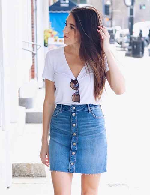 Cute Denim Skirt Outfit Ideas – 18 Different Ways To Style