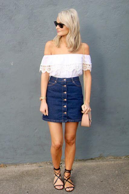27 Trendy Summer Denim Skirt Outfits That Inspire - Styleohol