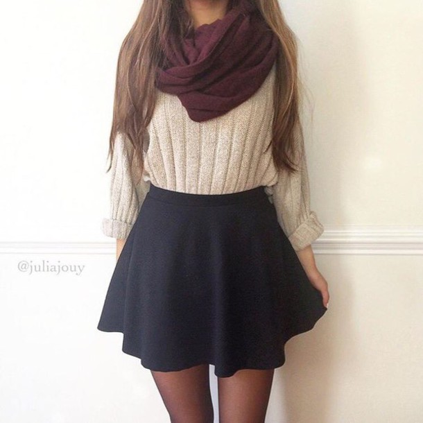 shirt, skirt, tan, red, cable knit, black, beige, purple, burgundy .
