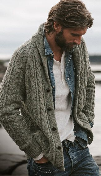 Ralph Lauren - Fall outfit idea with a gray shawl cable knit .