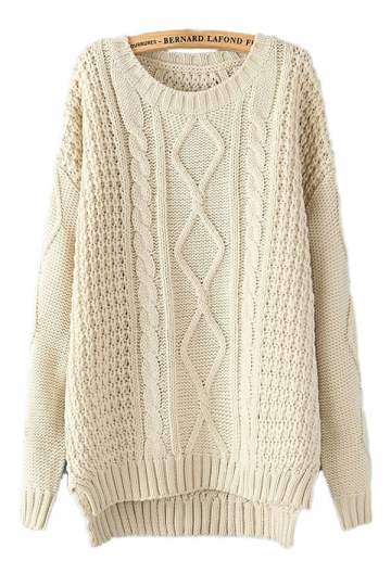 Beige White Diamond Cable Knit Sweater Winter Sweaters For Wom