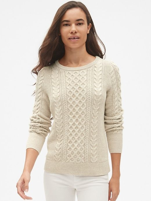Gap Womens Cable-Knit Crewneck Pullover Sweater Oatmeal | Work .