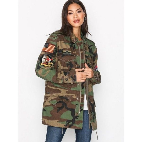 Polo Ralph Lauren Camo Twill Military Jacket ($410) ❤ liked on .