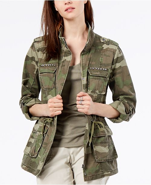 INC International Concepts I.N.C. Camouflage-Print Utility Jacket .