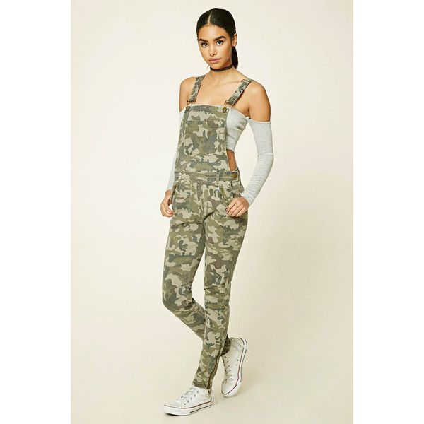 Forever 21 Women's Camo Print Overalls ($35) ❤ liked on Polyvore .