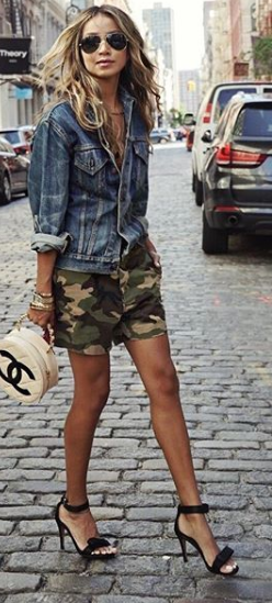 Camo shorts, denim jacket | Hair and beauty in 2019 | Fashion, How .