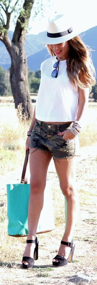 Camo Short Outfit Idea by Lola Mansil Fashion Diary | Camo shorts .