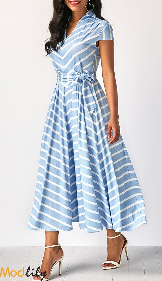 V Neck Striped Belted Cap Sleeve Dress On Sale At Modlily. Free .