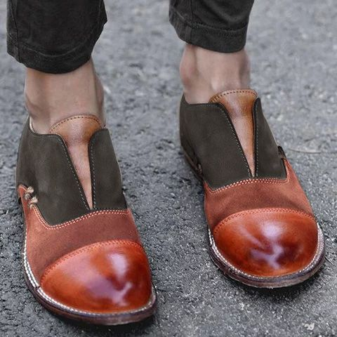 Women's Oxford Shoes Cap Toe X Stitching Vintage Loafers – shecici .