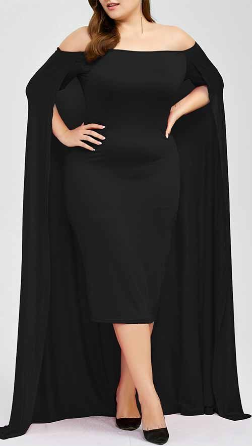 Off The Shoulder Plus Size Maxi Formal Long Prom Caped Dress .