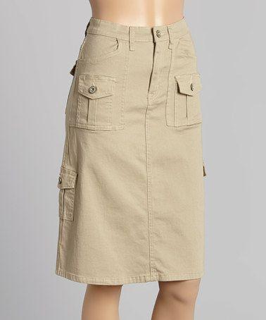 Loving this Khaki Cargo Skirt - Women on #zulily! #zulilyfinds .