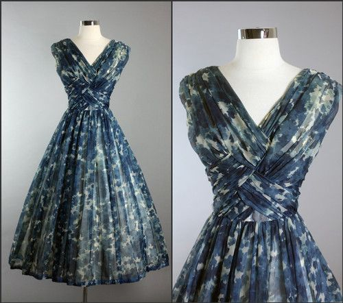 1950's Carol Robins Chiffon Cocktail Dress | Fantasy Wearable .