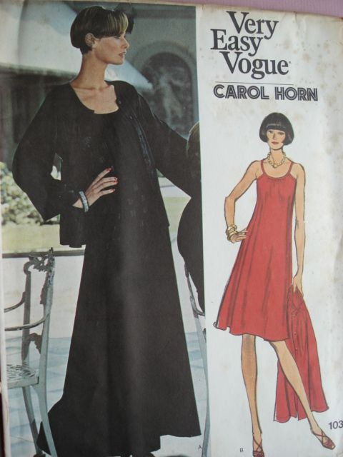70s COCKTAIL DRESS, JACKET PATTERN VOGUE 1031 CAROL HORN | Vintage .