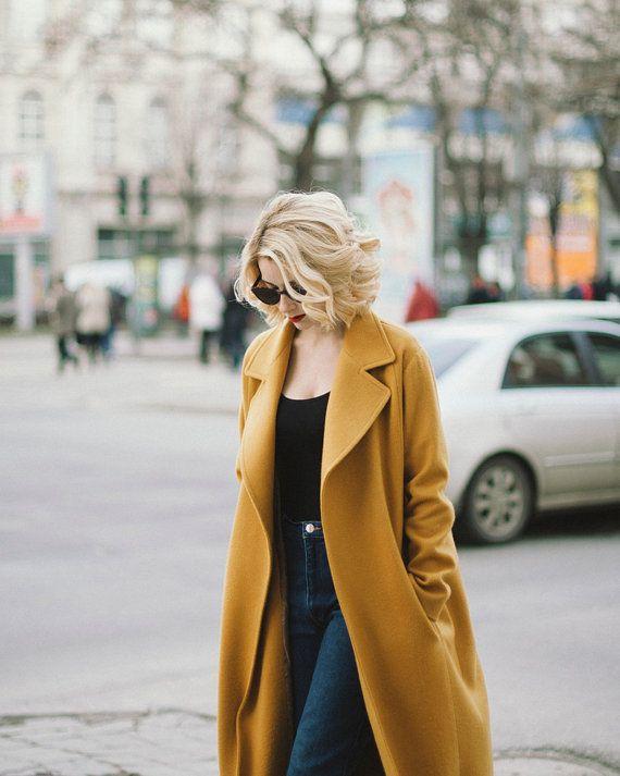 chic fall look   Mustard coat, Fall fashion coats, Cashmere co