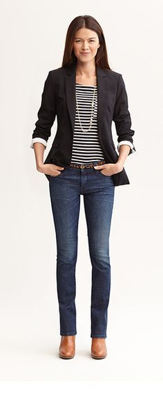 Women's Business Casual. Dark jeans dressed up with a high-neck .