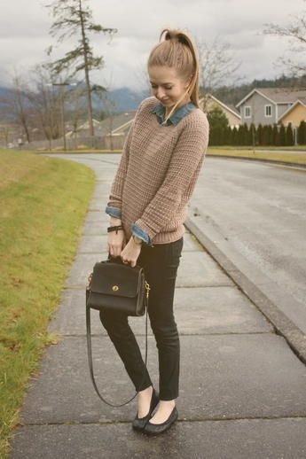 20 Sweater and Shirt Outfit Ideas for Fall | Collared shirt .