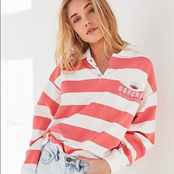 Gotcha For UO Striped Collared Sweatshirt from Urban Outfitters .
