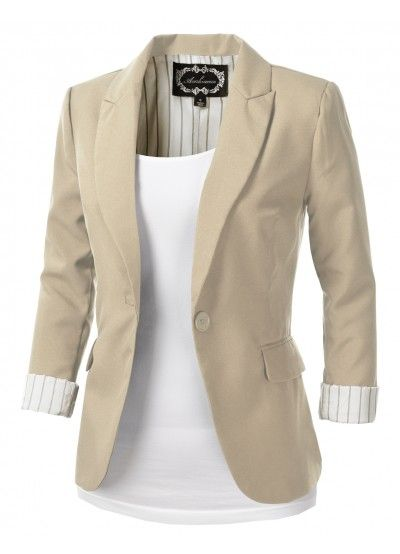 Womens Khaki Tailored Blazer - love this - too bad they're out of .