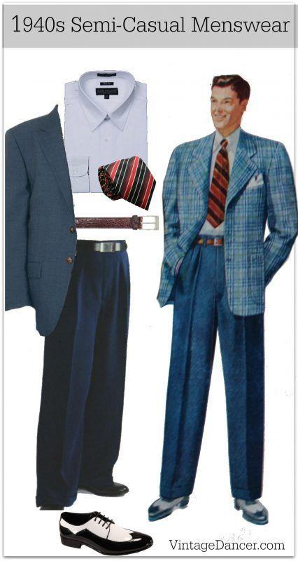 Men's 1940s semi casual sport coat blazer mens fashion clothing .