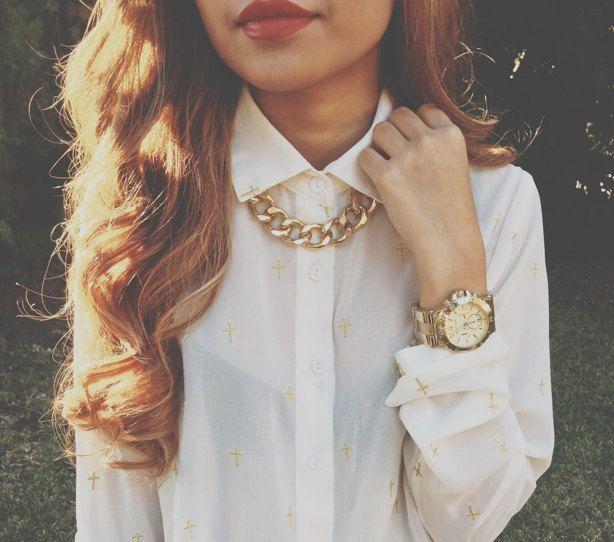 Gold Chunky Chain Necklace, Extra Chunky. $22.99, via Etsy .