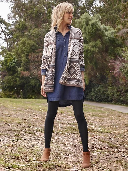 Chambray tunic, tights, cardi | Old Navy | Vestido de mezclilla .
